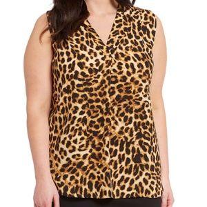 Vince Camuto Women's Plus Leopard-Print Sleeveless